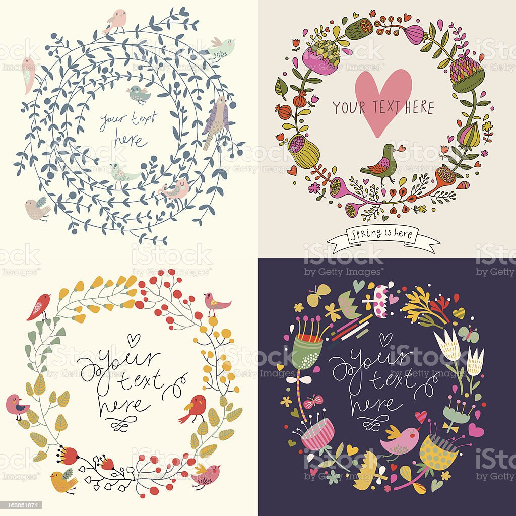 Four vintage floral cards vector art illustration