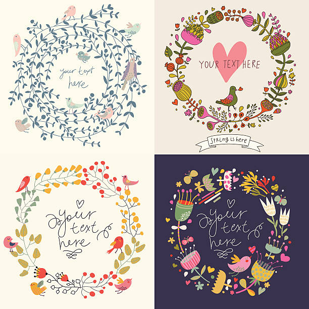 Four vintage floral cards Vector romantic design elements made of flowers. Ideal for wedding invitations bird borders stock illustrations