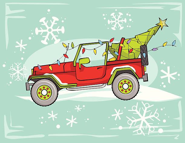 four wheel drive christmas vector art illustration