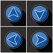 four white, blue arrows with black shadows