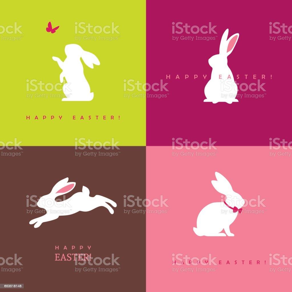 Four white bunny silhouettes vector art illustration
