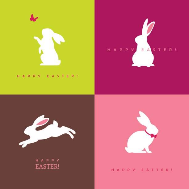 vier weiße hase silhouetten - kaninchen stock-grafiken, -clipart, -cartoons und -symbole
