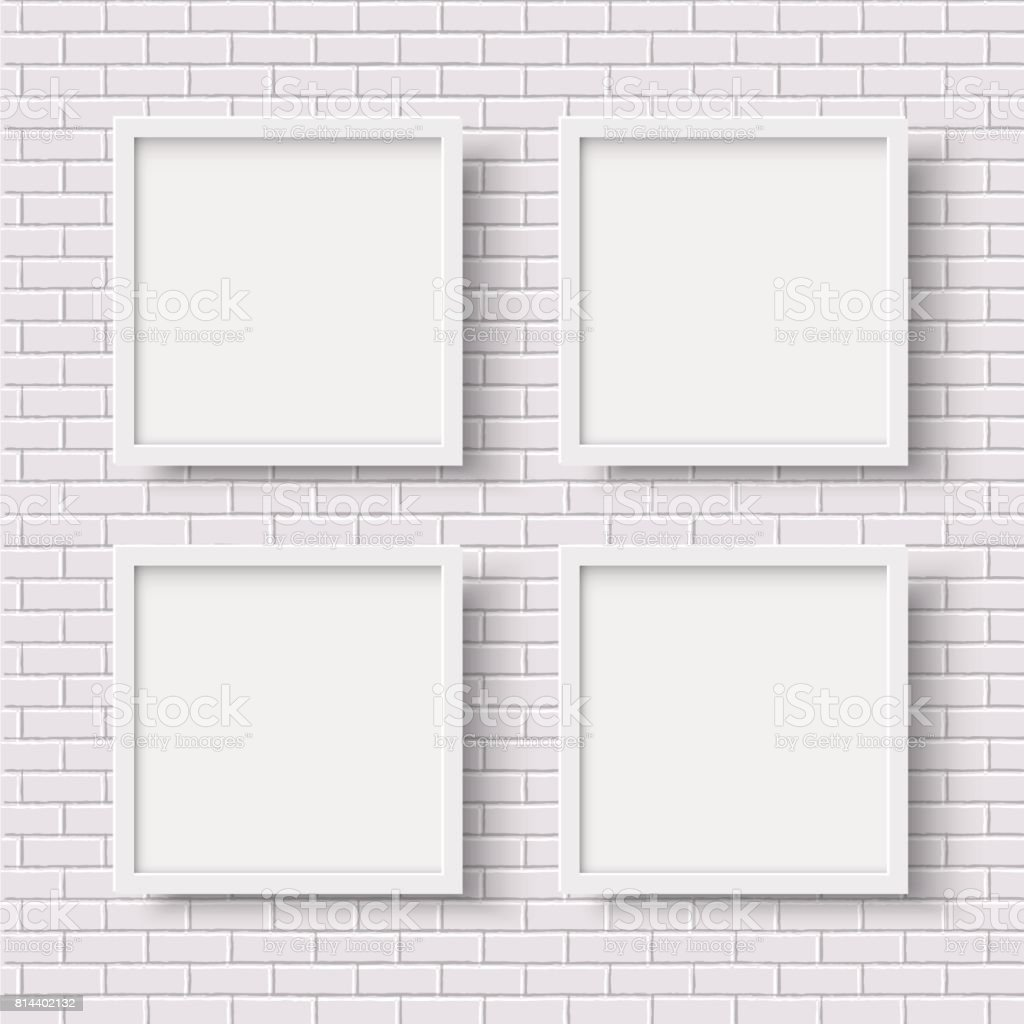 Four White Square Empty Frames On White Brick Wall Stock Vector Art ...