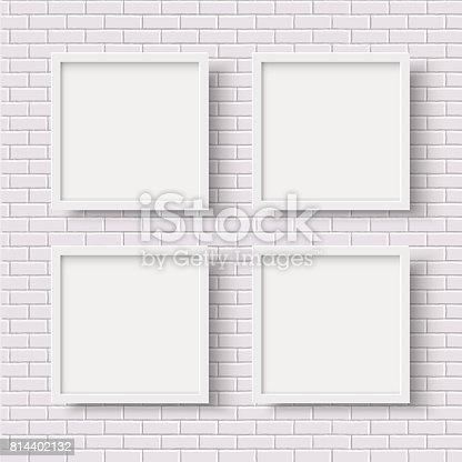 four white square empty frames on white brick wall stock vector art 814402132 istock - White Square Frames