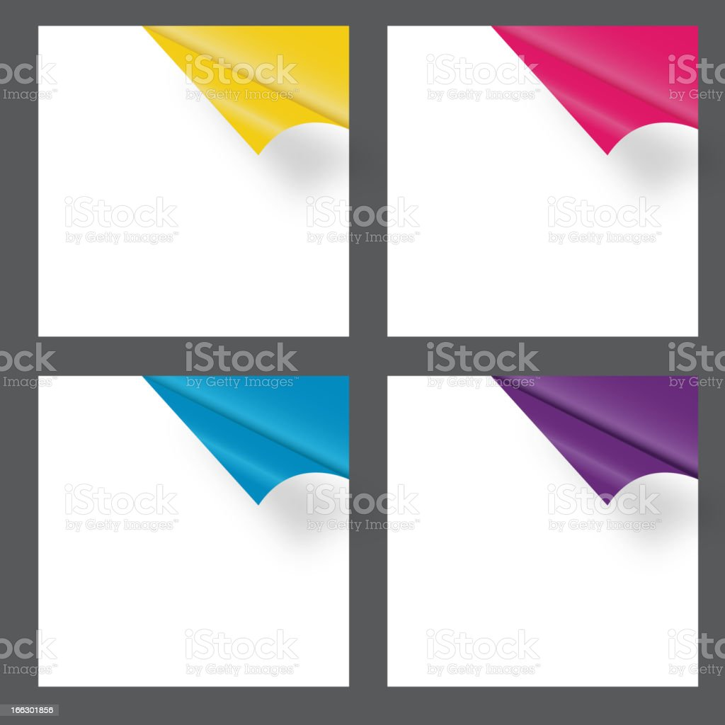 Four white squares peeling back to reveal different colors vector art illustration