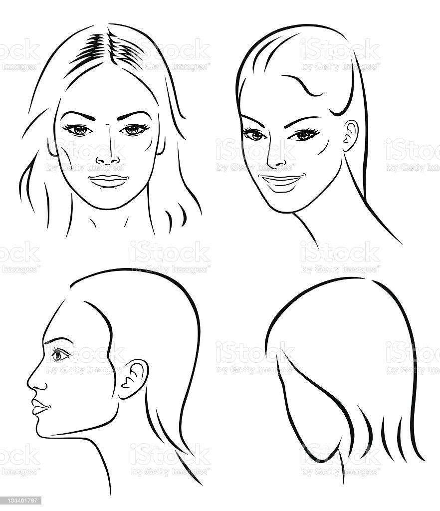 Four woman outline faces vector art illustration