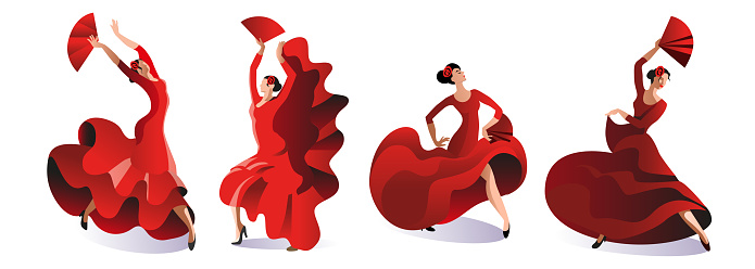 Four women in red dresses with fans dance flamenco.