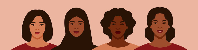 Four women of different ethnicities and cultures stand side by side together. Strong and brave girls support each other and feminist movement. Sisterhood and females friendship. Vector illustration
