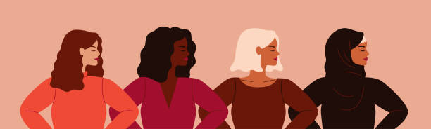 four women of different nationalities and cultures standing together. - tylko kobiety stock illustrations