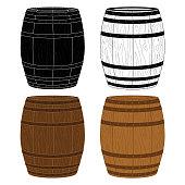 Four Wooden Barrels Vector