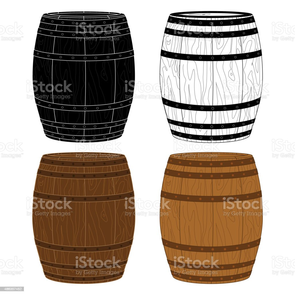 Four Wooden Barrels Vector vector art illustration