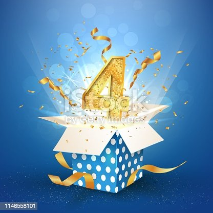 Four years anniversary open gift box of polka dots with explosions confetti Template 4 fourth birthday celebration on blue background vector Illustration
