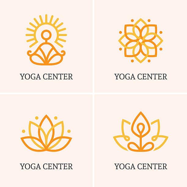 Four yoga icons set Set of four outline icons and symbols for spa center or yoga studio prayer pose yoga stock illustrations