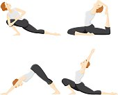 A series of 4 different yoga poses. No gradients were used when creating this illustration.