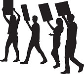 Vector silhouette of four young adults protesting.