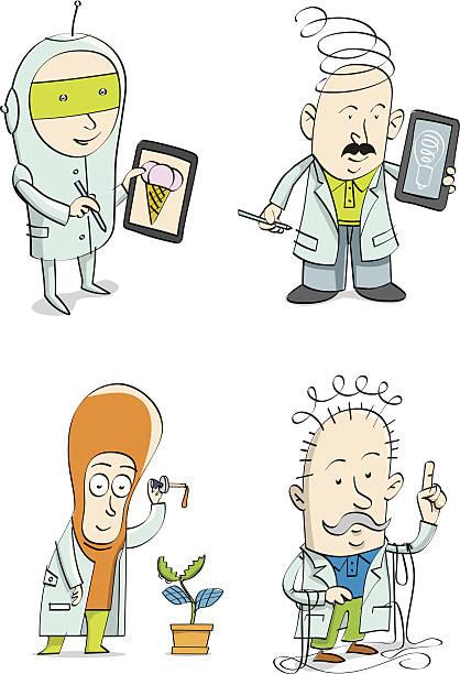 Four_Professors vector art illustration