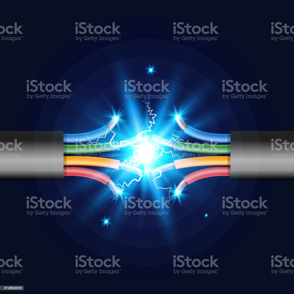 Four-core Electric cable break with electric spark. Vector illustration. vector art illustration