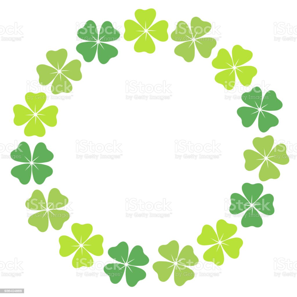 Fourleaf Clover Circular Frame Stock Vector Art More Images Of