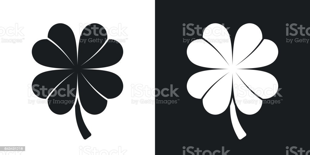 Four-leaf clover icon, vector. Two-tone version vector art illustration