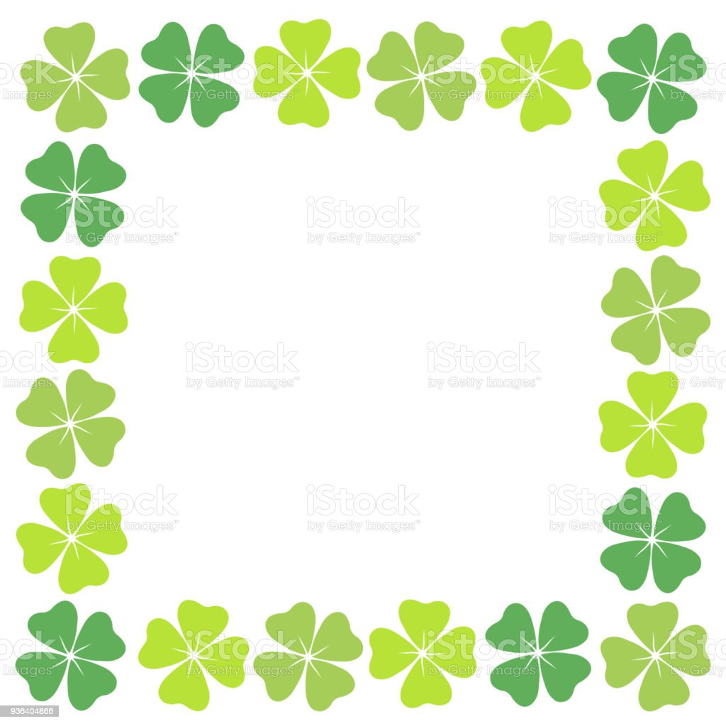 Fourleaf Clover Square Frame Stock Vector Art More Images Of