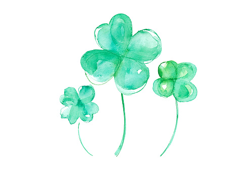 Four-leaf clover watercolor trace vector