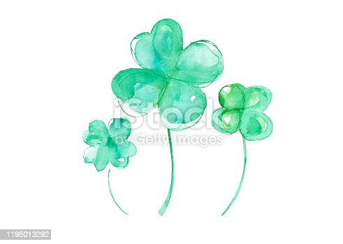 istock Four-leaf clover watercolor trace vector 1195013292