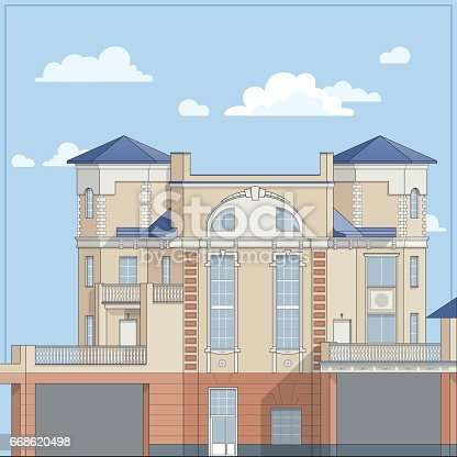 Four-storey big house with beige brick walls and a blue roof. In a classic style. A private mansion, a  traditional cottage with a stucco facade. Detailed architectural design. Vector illustration