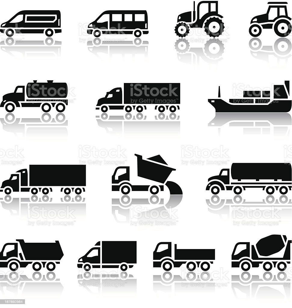 Fourteen transport icons royalty-free stock vector art