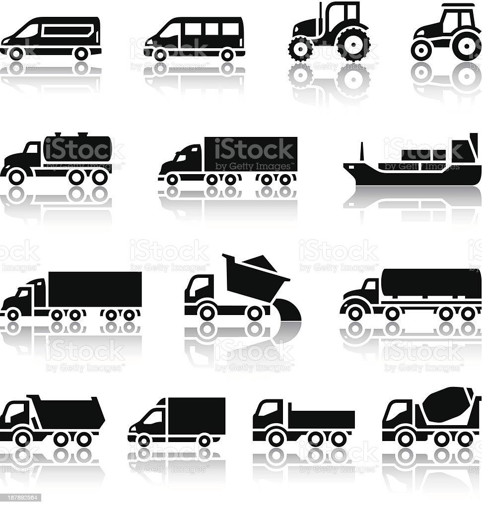 Fourteen transport icons vector art illustration