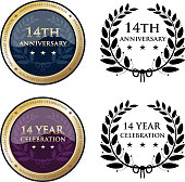 Fourteenth anniversary celebration gold medals and black laurel wreath icons collection.