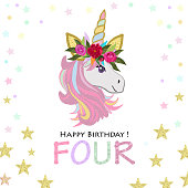 Party Invitation Greeting Card Fourth Birthday Four Text Magical Unicorn