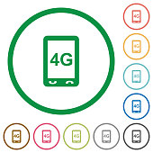 Fourth generation mobile connection speed flat icons with outlines
