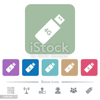 istock Fourth generation mobile stick flat icons on color rounded square backgrounds 1089086170