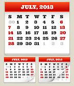 Fourth of July 2013 Holiday Calendar Set