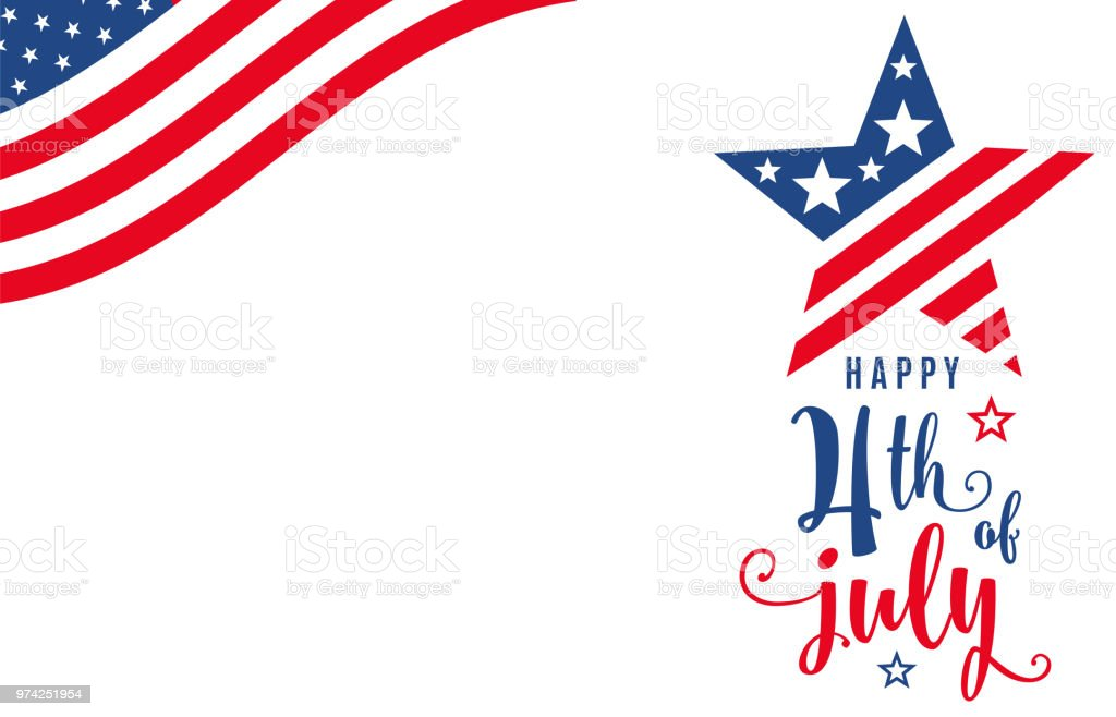 Fourth of July. 4th of July celebration holiday banner Fourth of July. 4th of July celebration holiday banner. USA Independence Day poster with blank place. Motion dynamic concept design. Vector illustration American Flag stock vector