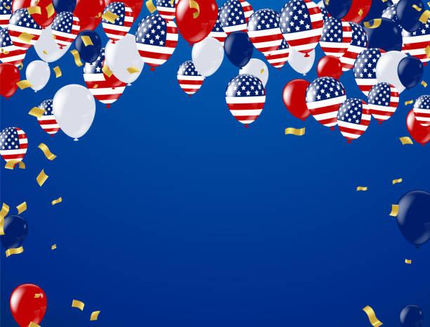 dört temmuz. 4 temmuz tatil banner, kutlama afişi. ulusal amerikan tebrik. amerikan bayrakları, balonlar, petards, konfeti, flamalar, şapka, vektör çizim vektör - columbus day stock illustrations