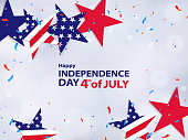 Fourth of July. 4th of July holiday banner. USA Independence Day background for sale, discount, advertisement, web. Place for your text