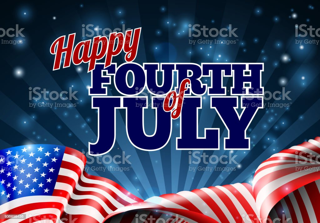 Fourth of July American Flag Background vector art illustration
