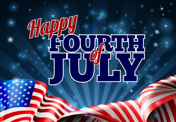 7 월 미국 국기 배경 - happy 4th of july stock illustrations