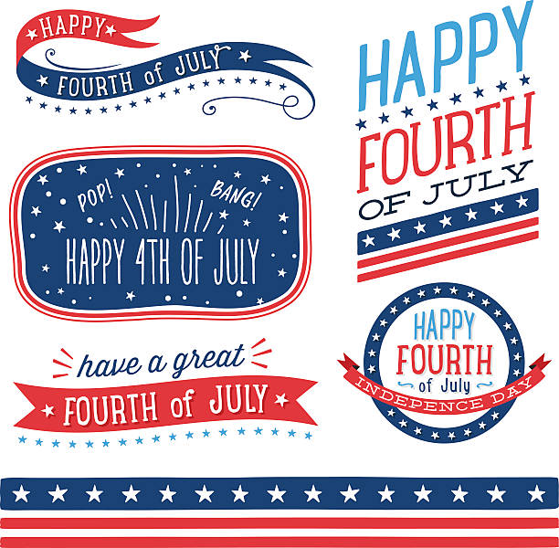 Fourth of July Badges vector art illustration