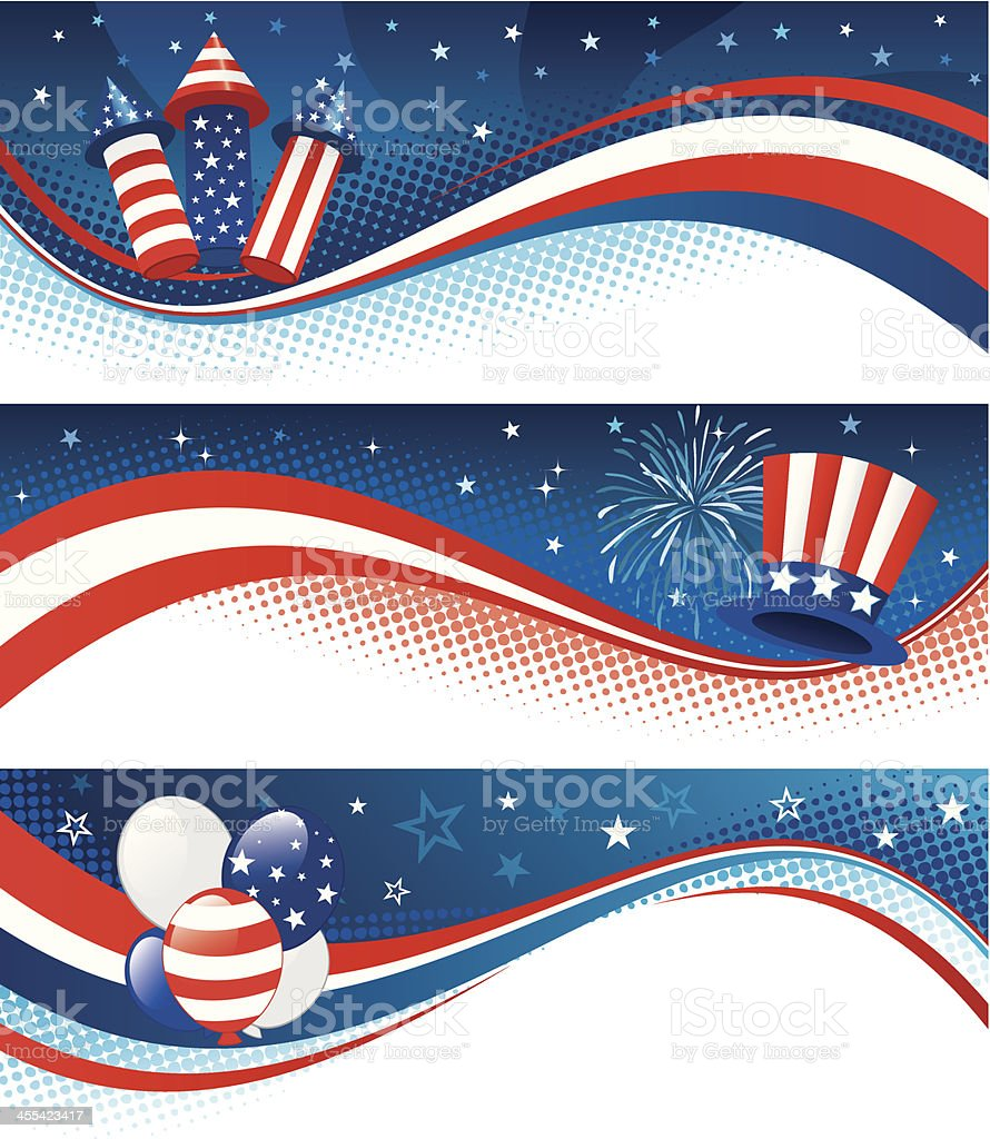 Fourth of july banners three royalty-free fourth of july banners three stock vector art & more images of abstract