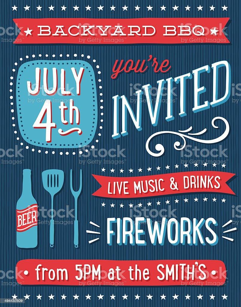 Fourth of July BBQ invitation vector art illustration