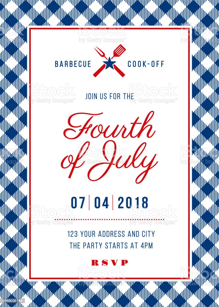 fourth of july bbq party invitation illustration stock vector art