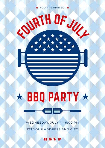 Fourth of July BBQ Party Invitation - Illustration