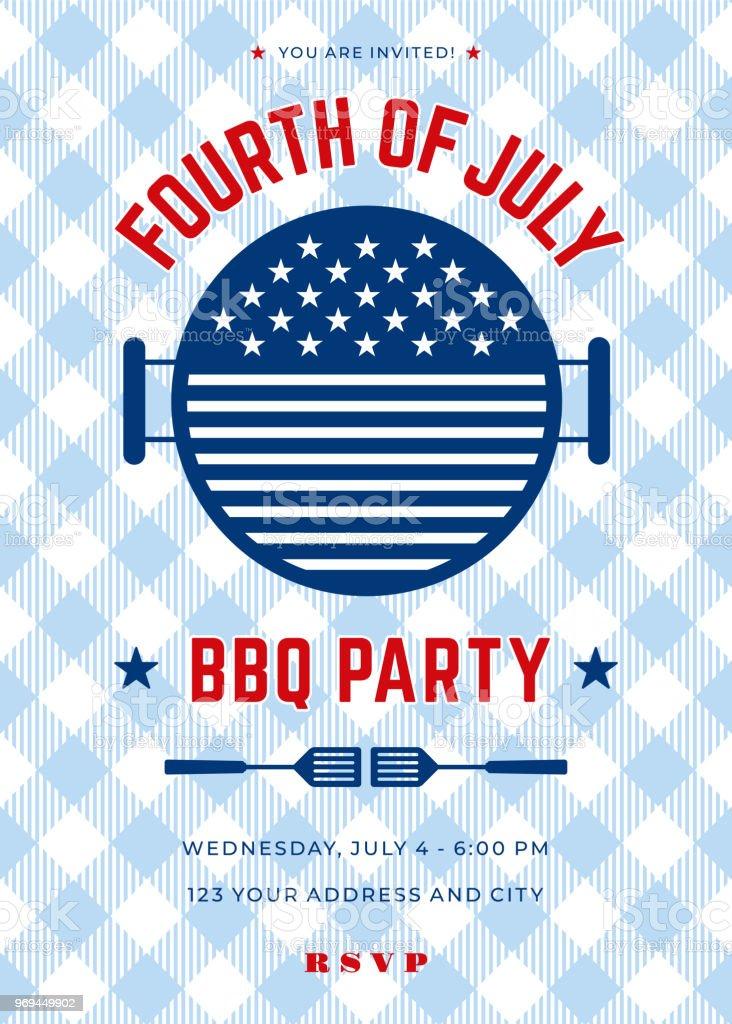 Fourth of July BBQ Party Invitation - Illustration vector art illustration
