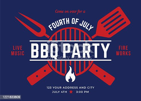 Fourth of July BBQ Party Invitation. Stock illustration