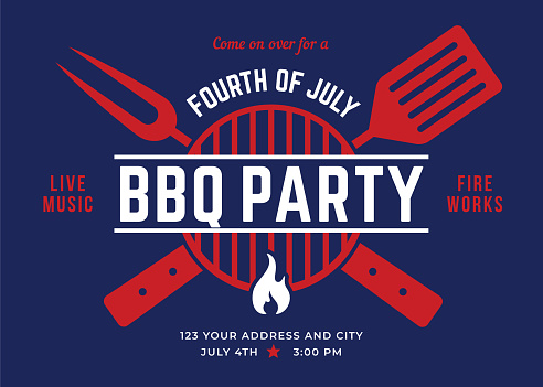 Fourth of July BBQ Party Invitation.