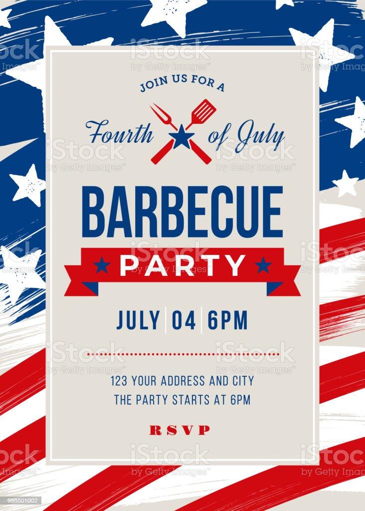 Fourth of July BBQ Party Invitation vector art illustration