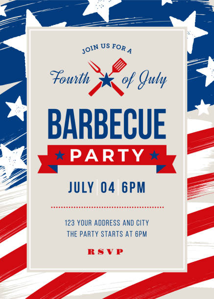 Fourth of July BBQ Party Invitation Fourth of July BBQ Party Invitation - Illustration circa 4th century stock illustrations
