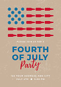 Fourth of July Beer Party Invitation. - Illustration